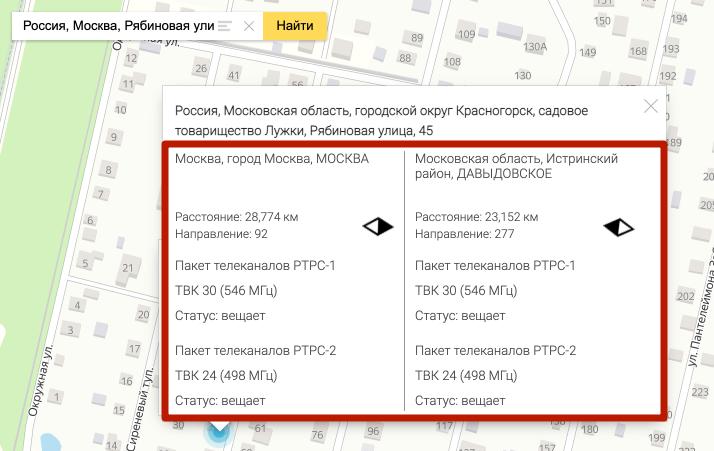 Карта покрытия цифрового телевидения ретрансляторами (вышками)